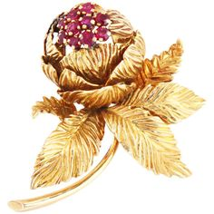 Pre-owned Van Cleef & Arpels Ruby Flower Brooch ($8,012) ❤ liked on Polyvore featuring jewelry, brooches, brooch, pre owned jewelry, 18k jewelry, flower broach, van cleef arpels jewelry and flower brooch