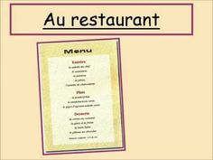 video- how to order Restaurant Themes, Menu Restaurant, French Teacher, Teaching French, Examen Oral, Les Adjectifs Possessifs, Communication Orale, Cv Curriculum Vitae, Food Vocabulary