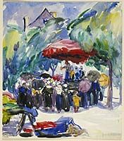 Market Scene in Brittany, 1911 - aquarelle et fusain sur papier - Emily Carr (Canadian, Tom Thomson, Emily Carr, Canadian Painters, Canadian Artists, Abstract Landscape, Landscape Paintings, Art Inuit, Vancouver Art Gallery, National Art