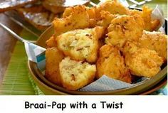 Robertsons Braai Pap with a Twist Braai Recipes, My Recipes, Appetizer Recipes, Snack Recipes, Cooking Recipes, Recipies, Cooking Pork, Family Recipes, South African Dishes