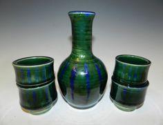 Ceramic sake set cobalt blue and emerald by MarkCampbellCeramics, $50.00