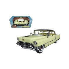 Brand new scale diecast car model of 1955 Cadillac Fleetwood Series 60 Yellow with White Roof die cast model car by Greenlight.Brand new box. Has opening doors. Has steerable wheels.Made of diecast metal. Hydraulic Excavator, Ford, Star Wars, Cadillac Fleetwood, Datsun 240z, Cadillac Eldorado, Jeep Cars, Bentley Continental, Rubber Tires