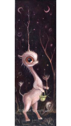 Surreal Big Eye Unicorn, Magical Forest,  Mysterious Creature, Pop Surrealism, Lowbrow Art Print, Matted Print, Giclee, EVK