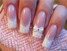 top 25 fantastic french Nails Art DesignsFrench manicures ar a well-liked trend among girls in America nowadays. And for glorious reason – the French manicure is extremely universal, and is just as acceptable for jeans and t-shirts because it may be Vintage Wedding Nails, Wedding Nails For Bride, Bride Nails, Wedding Manicure, French Nail Art, Best Nail Art Designs, Fabulous Nails, Holiday Nails, Cool Nail Art