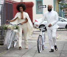 The pair enjoyed a bike ride instead of a limo ride after the wedding.