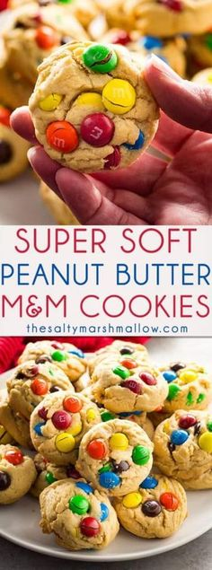 These Peanut Butter M&M Cookies bake up thick and soft! A for M&M cookies packed with peanut butter flavor are super easy to make from scratch. Incredible texture with M&M's in every single bite make these the best peanut butter M&M cookies ever. Cookies Receta, M M Cookies, Yummy Cookies, Cookies Et Biscuits, Cookies Soft, Sandwich Cookies, Shortbread Cookies, M&m Cookie Recipe, Peanut Butter M&m Cookies Recipe