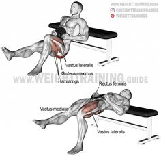 Weighted one-leg hip thrust. A unilateral isolation exercise. Synergists: Quadriceps (Vastus Lateralis, Vastus Medialis, Vastus Intermedius, and Rectus Femoris). Gym Workout Tips, Weight Training Workouts, Hip Workout, Workout Fitness, Workout Women, Big Muscle Training, Workout For Flat Stomach, Hip Thrust, Muscle Fitness
