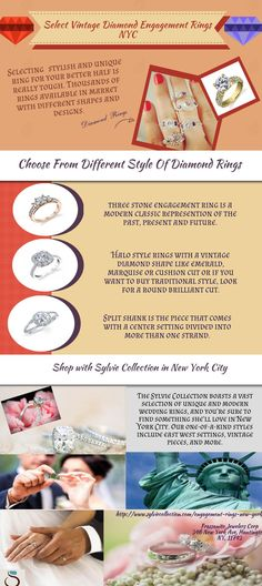 Look for beautiful vintage #diamondengagementring for your companion in New York City? Choose perfect and conflict-free #diamondring at effective prices from Sylvie Collection.