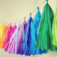 Rainbow Fun ... tissue paper tassel garland // nursery // classroom // wedding decorations // birthdays // party decorations