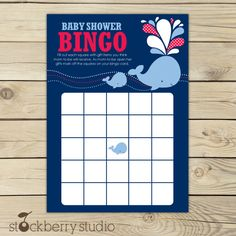 Whale Baby Shower Blue and Red Printable Bingo Game. $5.00, via Etsy.
