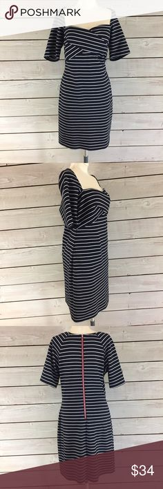 Miss Sixty Stripped Dress Super cute striped dress has a flattering neckline and form fitting shape. The dress is in good condition but it has very minor fabric piling that could easily be removed with a fabric shaver. Measurements photoed above. Miss Sixty Dresses