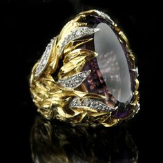 GRIMA London.1964.Stunning amethyst ring in a gold and diamond mount