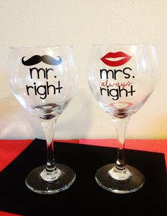 Mr. Right and Mrs. Always Right Wine Glasses - Set of 2