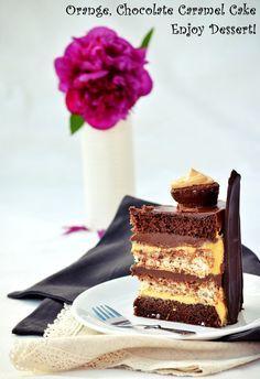 Tort cu ciocolata, portocale si caramel Sin Gluten, Gluten Free, Chocolate Carmel Cake, Vegan Desserts, Dessert Recipes, Cake Receipe, Romanian Desserts, Something Sweet, Cake Designs