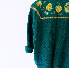 Chunky Emerald Green Vintage Slouchy Sweater / от thehappyforest