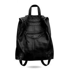 Fashion Brand Rivet women's backpacks soft leather black backpack female ladies rucksack mochilas mujer