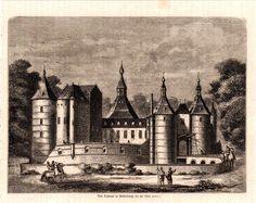 antique print Batenburg castle dutch / Wijchen houtgravure kasteel 1882