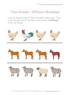 preschool same different worksheets (Under \