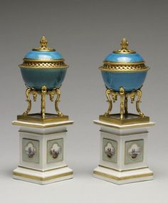 ❤ - Pair of Covered Bowls. Porcelain: 1725-1770; Stands: ca. 1770. Porcelain with glaze turquoise and German ormolu stands, 7 15/16 in. (20.1 cm). Acquired by William T. or Henry Walters. 49.1457, 49.1458. The Walters Art Museum