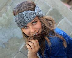 Fall Winter Boho Crochet Knit Bow Hair Accessories Headband #Handmade