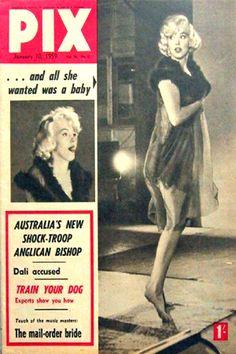 1959 January issue: Pix (Australian) magazine cover of Marilyn Monroe