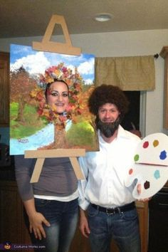 My boyfriend and I are fans of Bob Ross and his happy little trees. We decided to make our halloween costumes based around Bob Ross and his paintings. For my dress, I purchased a plain. Tree Halloween Costume, Couples Halloween, Homemade Halloween Costumes, Fete Halloween, Halloween Crafts, Funny Halloween, Meme Costume, Funny Costumes, Diy Costumes