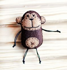 Monkey Felt Brooch, felt accessory, Felt Brooch, animal Original brooch, Original gift for women, Brooches,Present for Her, handmade brooch, by happygiftsUA on Etsy https://www.etsy.com/listing/398120841/monkey-felt-brooch-felt-accessory-felt