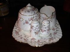 MINTON BONE CHINA MADE IN ENGLAND PORCELAIN SUGAR MILK SALT N PEPPER & PLATE