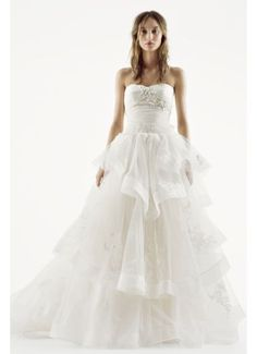 White by Vera Wang Strapless Tulle Wedding Dress VW351197