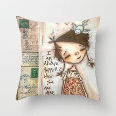 Happy Near You Throw Pillow by Diane Duda Art - $20.00