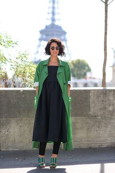 80 French Style Lessons To Learn Now #refinery29  http://www.refinery29.com/2014/10/75565/paris-street-style-photos-fashion-week-2014#slide23  Do: Try dresses over pants — no matter the length.