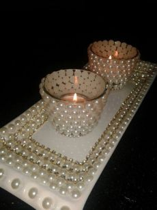 Wedding centerpiece , Bling wedding centerpiece with round mirror, Wedding decoration, Rhinestone vase, Bling candleholder and flower vase Thali Decoration Ideas, Diy Diwali Decorations, Festival Decorations, Christmas Decorations, Pearl Decorations, Wedding Decorations, Diwali Diy, Diwali Craft, Bottle Art