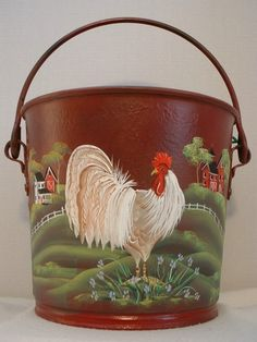 Vintage Country Rooster Metal Dairy Pail Milk Bucket Folk Art Tole by JMD Rooster Craft, Rooster Kitchen Decor, Rooster Decor, Shabby Vintage, Vintage Country, Chicken Crafts, Chicken Art, Painted Milk Cans, Chicken Painting