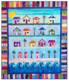 """Florida quilt  Paper piece a tropical vacation! Choose fabrics reminiscent of your favorite beach -- South Pacific batiks, Caribbean brights, Bermuda pastels, African prints, or Californian/Mediterranean white, terracotta and turquoise. Personalize your quilt with novelty fabric faces in the windows, embroidered flowers, fish in the ocean, shells on the sand, novelty buttons -- your imagination is the only limit.  Finished size about 57"""" x 67"""" (145 x 170 cm)"""