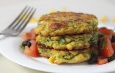 Corn And Avocado Fritters Recipe with self rising flour, eggs, spring onions, sweet corn, red chili peppers, fresh coriander, salt, black pepper, avocado, lemon juice, oil