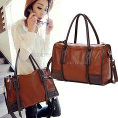 2016 Quality Fashion Women Vintage PU Leather Brown Ladies Hobo Tote Messenger Handbag Shoulder Satchel Bag Z1