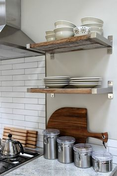 Kitchen Shelving Reclaimed Wood Ed In Ikea Brackets