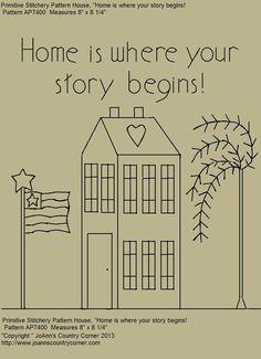 Primitive Stitchery EPattern Home is where par JoAnnCountryCorner, $2.00