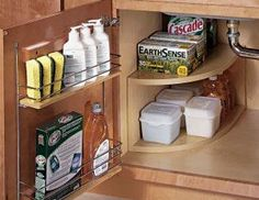 trendy kitchen storage cabinets organizing under sink Diy Kitchen Shelves, Kitchen Cabinet Organization, Storage Cabinets, Kitchen Organization, Organization Hacks, Kitchen Storage, Corner Shelves, Bathroom Storage, Kitchen Ideas