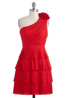 Cali Caliente Dress - Red, Short, Flower, Pleats, Ruching, Wedding, Party, A-line, One Shoulder, Fall, Solid, Film Noir