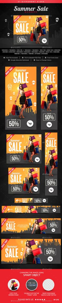 Buy Summer Sale Banners by Hyov on GraphicRiver. Promote your Products and services related to Summer Sale with this great looking Banner Set. Email Design, Ad Design, Print Design, Web Banners, Web Banner Design, Gaming Banner, Display Ads, Brochure Layout, Google Ads