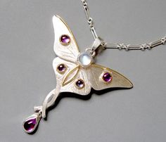 Julia Kay Taylor Handcrafted Artisan Jewelry Luna Moth Pendant with Rainbow Moonstone, Iolite and Amethyst