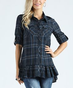 Take a look at this Navy Blue Plaid Ruffle-Hem Button-Up Tunic - Plus Too today!