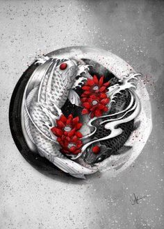 yinyang koi black white red