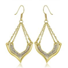 18K Changelier Style Drop Down Earrings Made with Swarovksi Elements, Women's