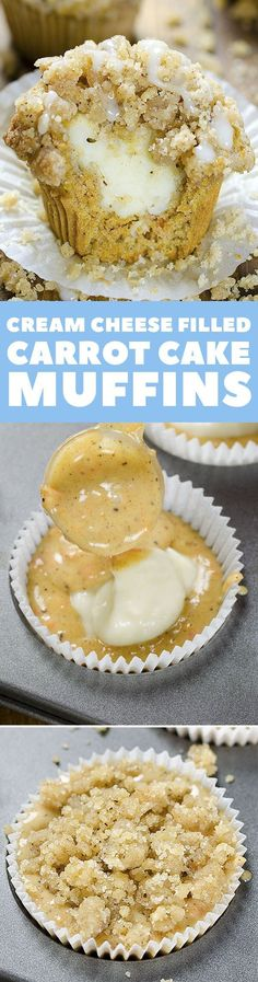 Totally tasty, these healthy Carrot Cake Muffins are a great breakfast ideas. With delicious cream cheese filling and streusel crumbs you can make them for dessert to Quick Healthy Breakfast Ideas & Recipe for Busy Mornings Muffin Recipes, Baking Recipes, Cake Recipes, Dessert Recipes, Healthy Recipes, Muffins Blueberry, Carrot Cake Muffins, Just Desserts, Delicious Desserts