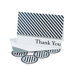 """Say thanks for sharing your special day! These #Nautical #Wedding Thank You Cards have a classic navy blue striped design. Paper. Cards, 5"""" x 3 1/2""""; seals, 1 1/2..."""