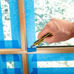 Painting Prep: Foolproof Window Masking - Tips for How to Use Painters Tape: http://www.familyhandyman.com/painting/tips/using-masking-tape-when-painting#10