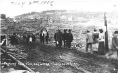 The aftermath of the fire, Haileybury Road (now Lang Street), July 1909 - The Cobalt Adventure Small Towns, View Image, Cobalt, Ontario, Photograph, Canada, Fire, Adventure, Street