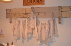 I adore ripped tattered fabric and wanted to add some Shabby/Prairie Garlands to my booth. These Garlands are being used for Decor, Photo P. Fabric Garland, Fabric Bunting, Garlands, Buntings, Photo P, Diy Signs, Lost & Found, Clothes Hanger, Valance Curtains